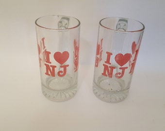 I Love New Jersey - Pair of vintage souvenir pint glasses beer mugs steins NJ heart