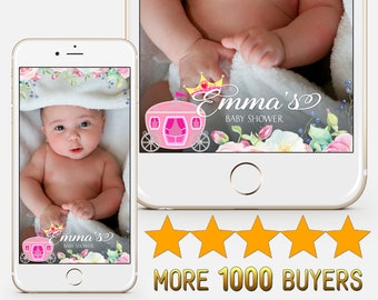 CUSTOM, Baby Shower Snapchat Flowers geofilter Rose flower Сarriage First birthday snapchat Pink crown It's a girl Baby shower filter S229