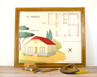 Vintage French School Home Exterior Woodwork, Vintage poster, Old French School chart, illustration, kids vocabulary poster, architect deco