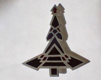 Art Deco Native American Design Christmas Tree Pin, Red & Black Enamel, Silver plated, Thunderbird, Vintage 1970s, RARE Book Piece