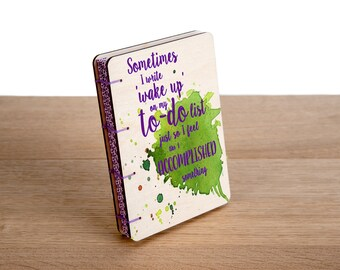 A6 Wood Cover Coptic Stitch 'To-Do' List Notebook, Colorful, Inspirational, Washi Tape