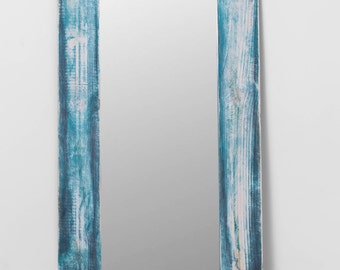 Cloud. Mirror of pine, white, turquoise and ash frame.