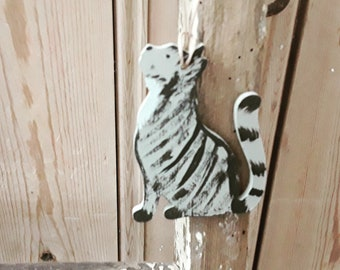 Hanging Black and Grey Tabby Cat Decoration, Hand Painted Black and Grey Tabby Cat Ornament, Cat Lover Gift, Cat Memento, Tabby Cat