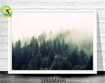 Forest Art, Fog Forest Photo, Forest Wall Print, Tree Wall Art, Forest Art Decor, Foggy Forest, Landscape Art, Forest Photo Print, Wall Art