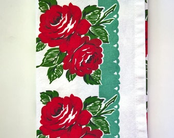 Shabby Chic Tea Towel, Retro Hand Towel, Floral Kitchen Towel, Vintage Style Dish Towel, Floral Dish Cloth, Gift Towel, Rose Tea Towel