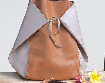 """Great bag tote bag camel leather and pink """"KEMBOJA"""""""