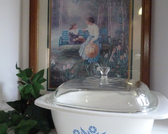 Corning Ware Cornflower Blue 4 quart Casserole with lid/Covered Casserole or Dutch Oven by Corning/Mother's Day