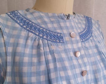 Vintage Gingham Sleeveless Top & Skirt Set with Embroidery Detail