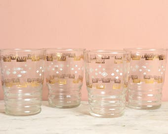 Antique french 1950s small glasses set of 4 tumblers gold trim shabby chic