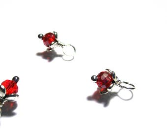 10PC. Translucent Ruby Multi Faceted AB Finish Austrian Crystal Flower Bead Charm//High Quality Bead Charm Adorned with Silver Tone Accents