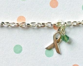 Celiac Awareness Bracelet, Light Green Awareness Bracelet, Celiac Support Bracelet, Celiac Bracelet, Ribbon Bracelet, Light Green Ribbon