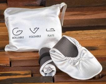 Foldable Flats, Rollable Flats, Ballerina Flats, Wedding Flats, Wedding Slippers, Bridesmaid Flats, Shoes for Bridesmaids, Flat Shoes