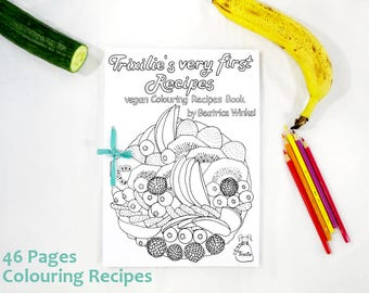 Coloring Book - Recipe Book - Print - digital download - Colouring Book for Children - Coloring Recipes - fairy Trixilies very first recipes