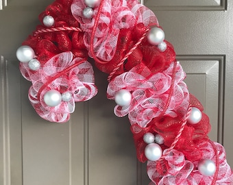 NEW Red and White Candy Cane wreath, mesh winter wreath, Christmas front door decor, silver ornaments candycane xmas decor