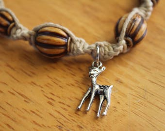 Hemp Bracelet with Deer Charm - Comfortable Fit - Great Handmade Gift Idea - Neutral Color - Macrame Bracelet with Silver Charm