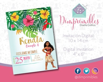Moana, Moana Invitation, Moana Printable, Moana Digital, Moana Party, Moana Birthday