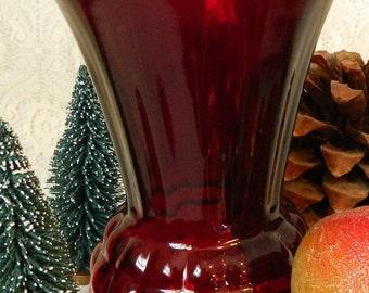 Vintage Ruby Red Vase, Red Depression Glass Vase, Pineapple Vase, Red Flower Vase, Retro Red Kitchen, Red Lover Gift, 45th Anniversary Gift