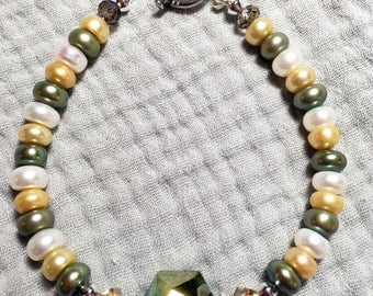 Multicolor Glass Pearl and Crystal Bracelet