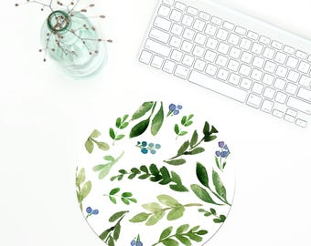 Greenery Mousepad, Office Mousepad, Coworker gift, Green mousepad, Desk Accessories, Green leaves mousepad, Christmas gift Pattern Mouse Pad