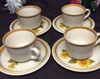 Vintage Mikasa Stone Manor F 5800 Cups & Stone Manor Melissa F 5811 Saucers Set Of 8 Pieces Made In JAPAN