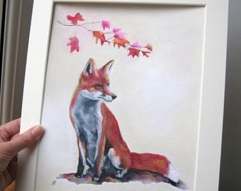 ORIGINAL Fox Painting, Fox Wall Art, Animal Art, Animal Painting, Wildlife Art, Animal Lovers Gift, Fox Gift , Fox Artwork