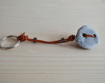 Beach pebble keychain