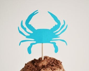 Blue Crab Cupcake Topper, Maryland, Birthday Party, Summer Party