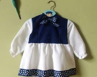 Childrens vintage 1970s girls dress / childs toddler dress. Kids vintage. Blue white. 1 year / 12 months - 18 months. Clothes / clothing