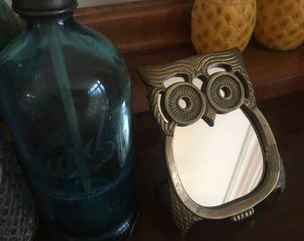 Brass Owl Vanity Mirror 1960s 1970s Hollywood Regency