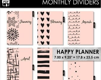 Monthly Happy Planner Dividers Pink And Black Inserts 12 Month Tabs Year Classic Happy Planner Pdf Download PRINTABLE
