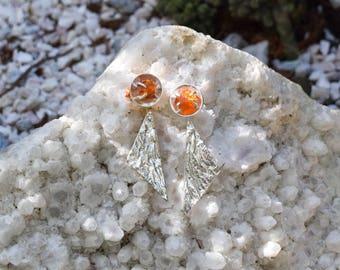 raw garnet silver earrings