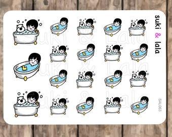 BATH stickers, Tub Planner Stickers, Kawaii Stickers, Bathtub planner stickers, Bath Planner Stickers, Bubble Bath Planner Stickers (SAL063)
