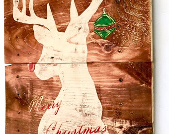 RUSTIC CHRISTMAS ART,Christmas Paintings On Wood,Rustic Christmas Decor,Christmas Wall Decor,Christmas Decoration,Christmas Wall Art