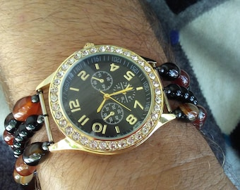 Plenty O' Bling Gemstone Beaded Watch with Red and Black Agate and Black Leather Snap Clasp