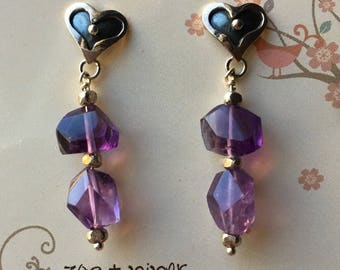 Silver Heart Post Earrings with Amethyst Beads, JS2194, Amethyst Bead Heart Earrings, JS2194, Sterling Heart Earrings with Amethyst, JS2194