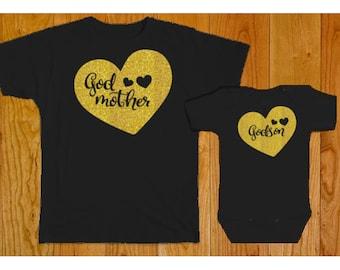 Godmother Godson Matching Shirt Set - Godson Gift - Godmother Gift - Godson Tshirt - Godmother Shirt - Godchild Gifts