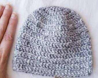 Gray Marbled Newborn Crocheted Birdseed Baby Beanie