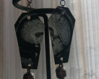 MRI Earrings with Silver Skulls