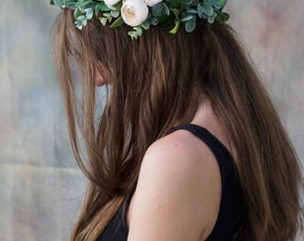 Flower crown wedding, ivory flower crown, bridal floral crown, greenery crown, flower girl crown, bridal headpiece