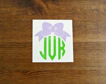 Initial Monogram with Bow Vinyl Decal - Choose Your Color, Size, and Initials
