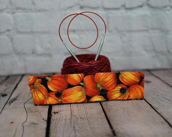 """Pumpkin Needle Holder,  6-8"""" DPN Holder for Knitting, Circular Needle Holder, DPN needle holder, Circular holder"""