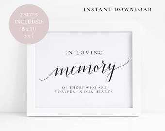 in loving memory template free - wedding memory sign etsy