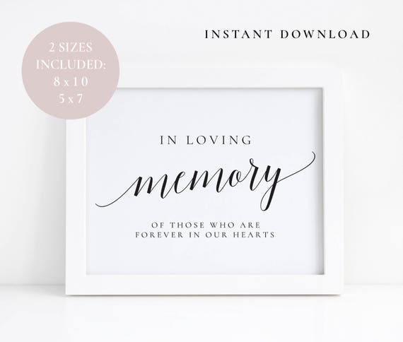 In loving memory signs Wedding memory sign In loving memory