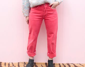 Vintage Red High Waisted Denim Jeans - M