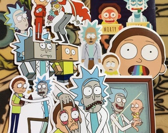 Rick and Morty sticker pack, 8 stickers, Cartoon, Stickers, Slaps, Rick and Morty, Open Your Eyes, Boof It,