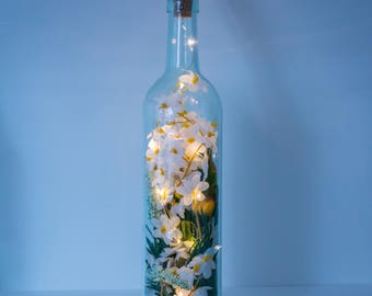 Terrarium, Bottle Light, Birthday Gift For Her, Wedding Decor, Bottle Lamp, Silk Flowers, Fairy Lights, Mother's Day Gift, Daisy Gifts