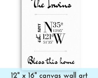 12 x 16 Custom Coordinate Canvas, GPS Coordinates Sign, Welcome Wall Art, Personalized Latitude and Longitude Coordinates, Mothers Day Gift