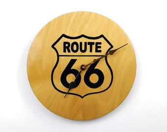 Route 66 Hand Painted Wood Wall Clock, Silent Movement