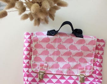 satchel waterproof coated cotton graphic pink triangles and whale nursery