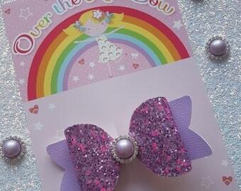 Purple glitter bow, hair clip, hair bow, glitter bow